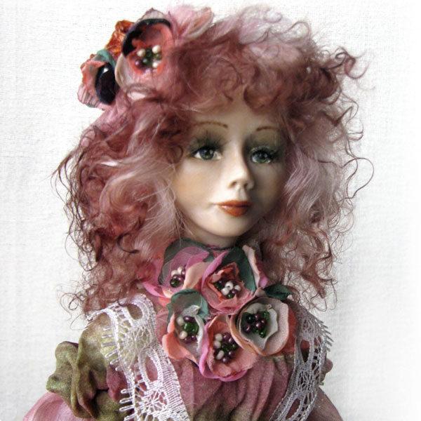 Оригинальная коллекционная кукла в розовом платье с розовыми волосами реалистичная кукла ручной работы